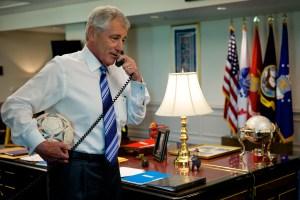 """Def Sec phones """"Secretary of Defense."""""""