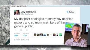 Apology Tweet from meteorologist