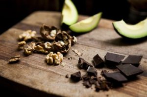 Avocados, Nuts and Dark Chocolate Stock
