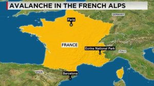 Three people are dead and about seven others remain unaccounted for after an avalanche around Franche's Ecrins National Park Wednesday, April 1, 2015, in the French Alps, an official in the Hautes-Alpes prosecutor's office said.