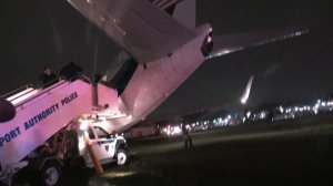 A plane carrying Republican vice presidential nominee Mike Pence skidded off a runway at New York's LaGuardia Airport Thursday night during landing. There were no reported injuries.