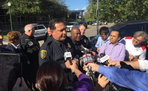 Newfix and other news outlets gather around HPD Chief Art Acevedo for update on the potential active shooter.