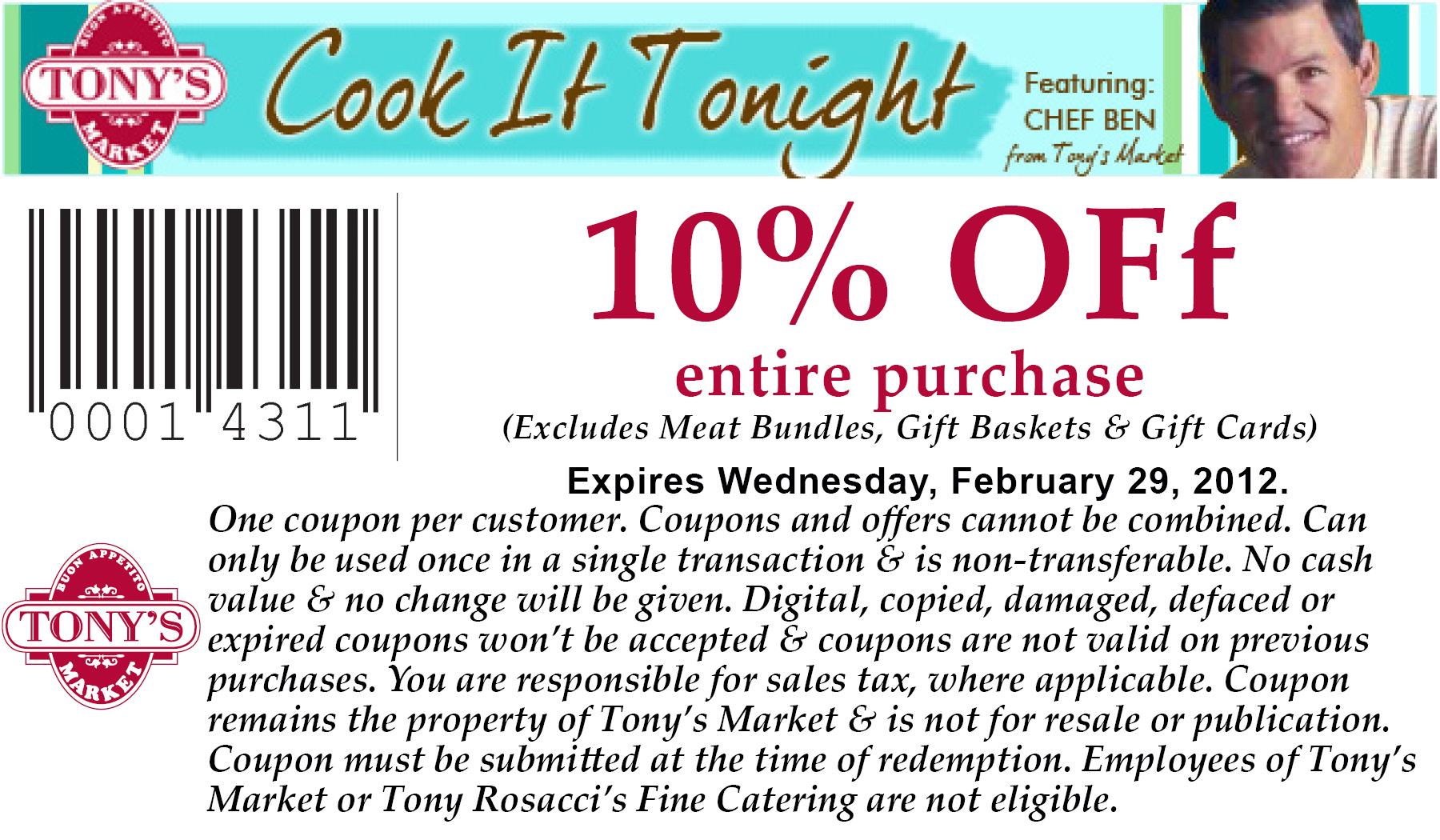 10% Off at Tony's Market