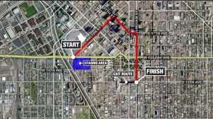Cinco de Mayo road closures in downtown Denver.