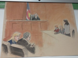 A sketch from the Aurora theater shooting hearing of James E. Holmes, July 30, 2012.
