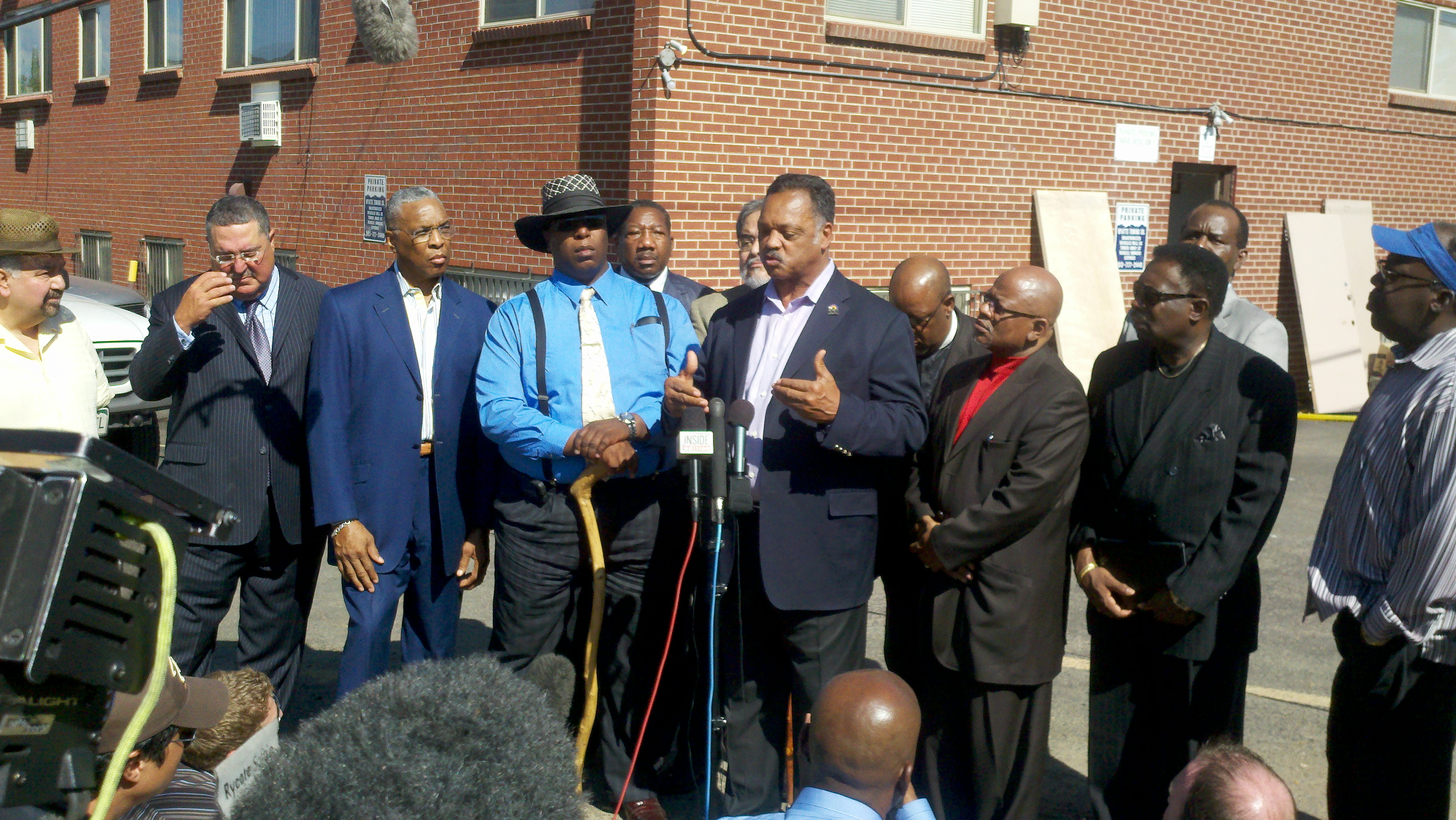 Jesse Jackson speaks in front of suspected gunman James Holmes' apartment, July 26, 2012.
