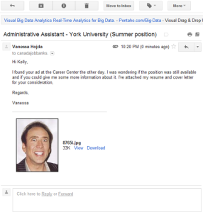 The application a Canadian woman sent with a Nicolas Cage photo mistakenly attached.