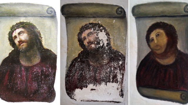 "Pictures provided by the Center for Borja Studies show the original version of the painting Ecce Homo, by 19th-century painter Elias Garcia Martinez, from left, the deteriorated version the center recently documented, and the version ""restored"" by a parishioner."