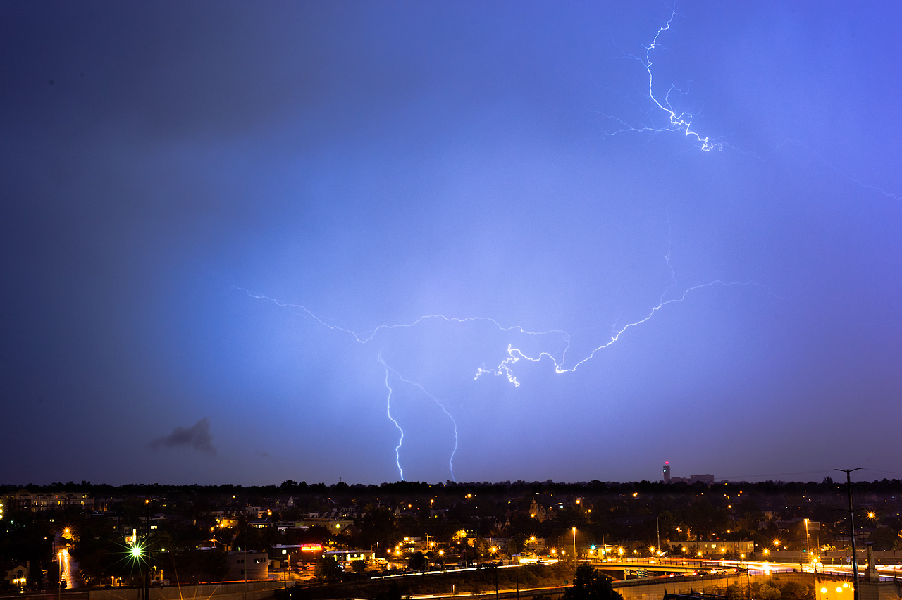 Lightning over Denver. This is looking west from Commons Park at 9:30 p.m. Sept. 26, 2012. Photo by: Dave Harpe