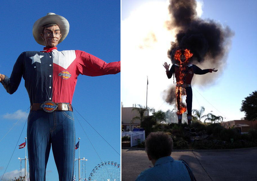 Big Tex , an iconic Dallas landmark, is shown in its original state at the left. On the right is a shot of the structure after it caught fire at the Texas State Fair at Oct. 19, 2012. (Photo: B. J. Bonnett )