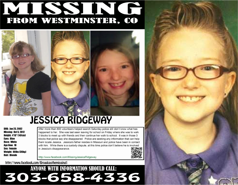 This missing child poster is being passed out to business across the nation as investigators search for 10-year-old Jessica Ridgeway of Westminster. (Westminster PD)