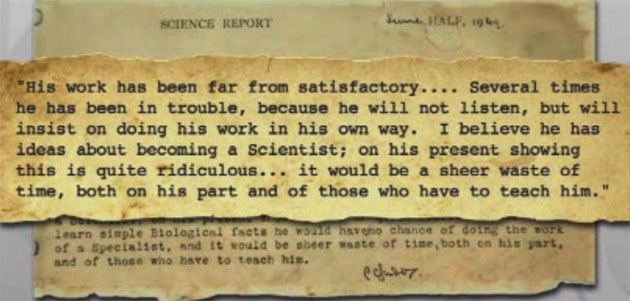"""An excerpt from the report card of Nobel winner John Gurdon's report card at age 15. It read that his dreams of becoming a scientist were """"ridiculous."""" (CNN)"""