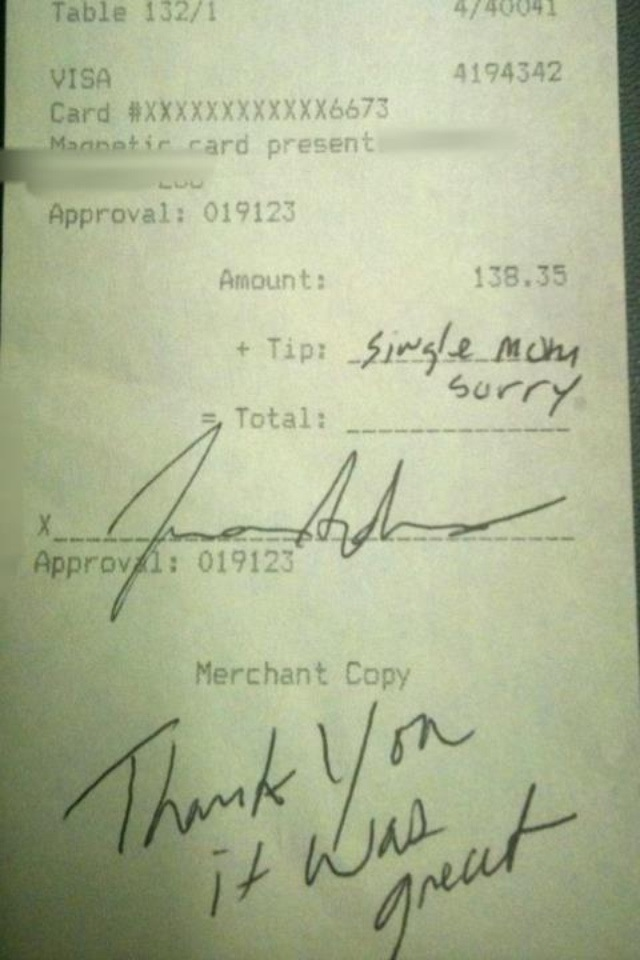 This receipt was posted to Reddit.com, claiming to show a single mom skipping out on a tip from a $138.35 bill. (Photo: Reddit.com)