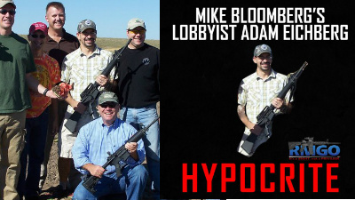 Lobbyist Adam Eichberg with GOP lawmakers in 2010, left, is being criticized by Rocky Mountain gun owners, who created the image on the right. (Photo: Facebook)