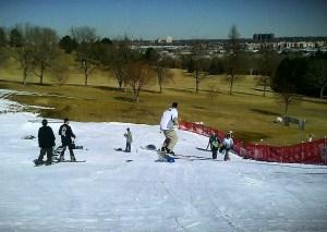 Skiers and boarders enjoying Ruby Hill Rail Yard Monday
