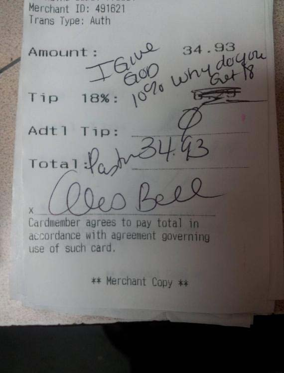 "This photo of a restaurant receipt shows an inscription from a self-identifying pastor that reads 'I give God 10%, why do you get 18?"" (Photo: Reddit)"