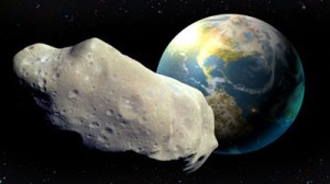 Artist's conception of asteroid approaching earth