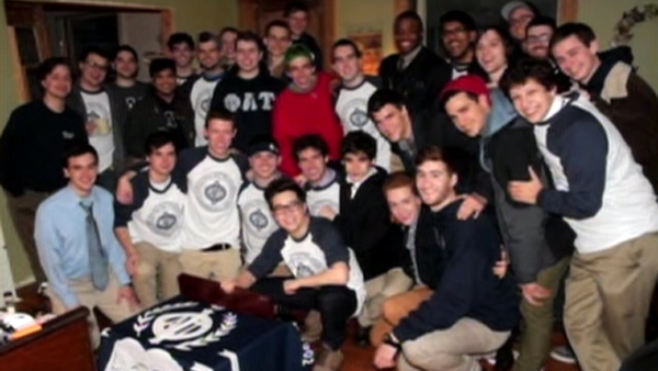 Donnie with his fraternity brothers at Phi Alpha Tau on the campus of Boston's Emerson College (Photo: CNN)