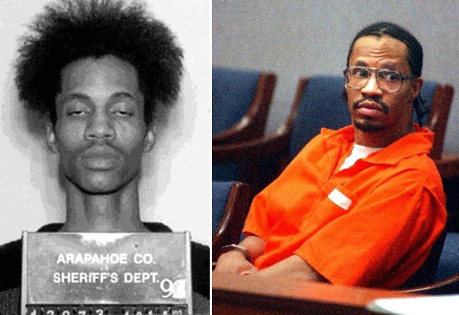 Nathan Dunlap shown after his 1993 arrest for murder at an Aurora Chuck E. Cheese, left, and after 18 years on death row, right.