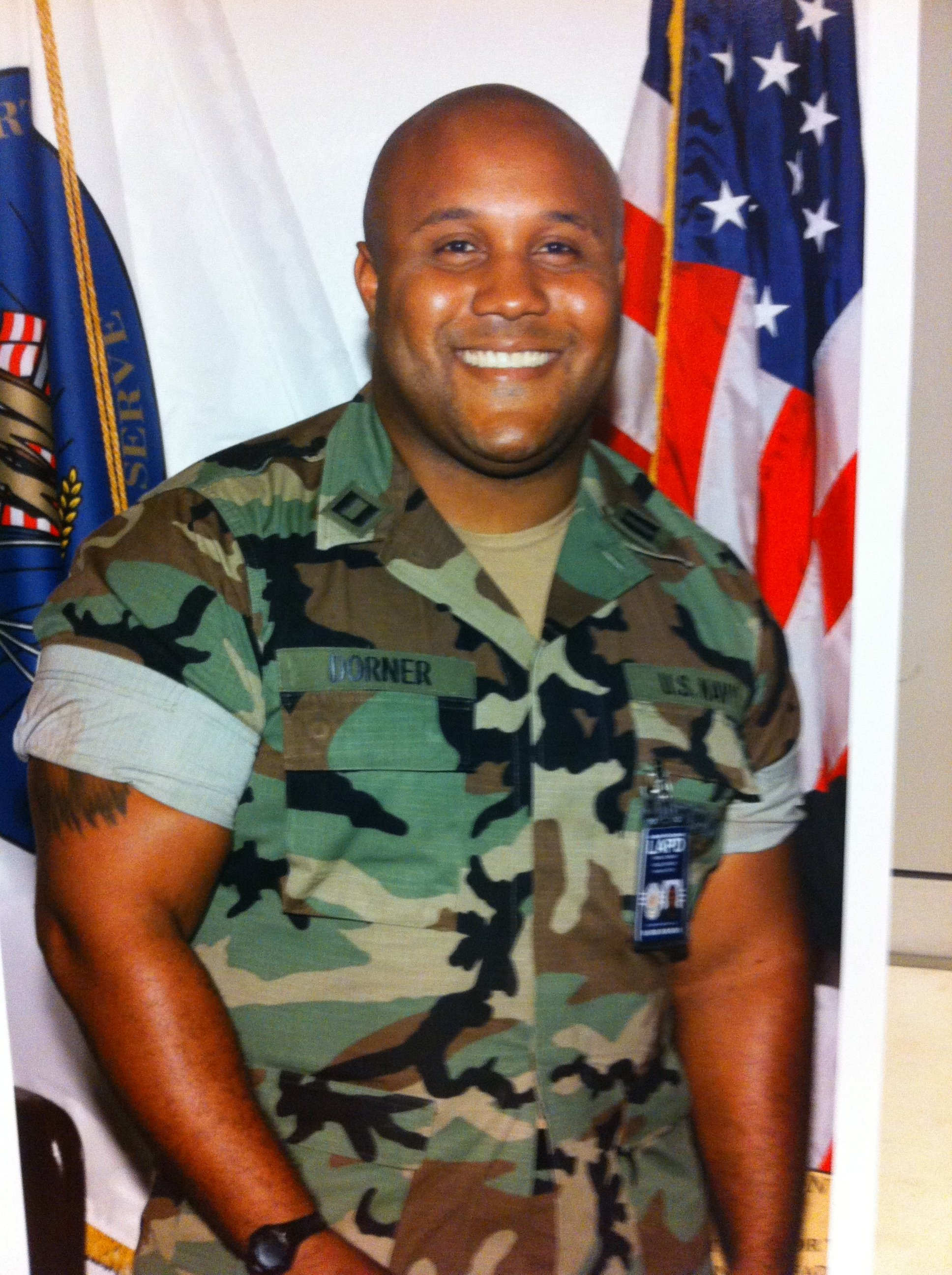 A former Los Angeles cop who had allegedly warned he would target law enforcement in retribution for being fired is now suspected of shooting three officers early Thursday, killing one, authorities said. The shootings -- which come a day after Irvine, California, police named Christopher Jordan Dorner (pictured) as the suspect in a double slaying there Sunday -- sparked a huge manhunt in Southern California.