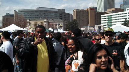 People rally at Civic Center Park for 4/20 (Photo: Greg Nieto)