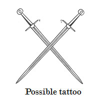 The suspect may have a tattoo in the shape of two crossed swords. (Photo: Denver police)