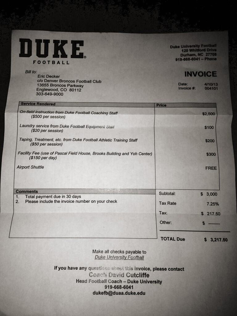 Peyton Manning sent this fake invoice to fellow Denver Bronco Eric Decker, momentarily making the wide receiver believe he owed the university over $3,200. (Photo: Twitter / EricDecker87)
