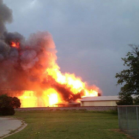 Fertilizer plant explosion in West, Texas. Photo from Twitter.com. Aril 17, 2013