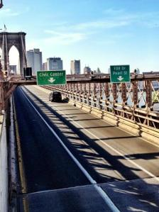 New York's Brooklyn Bridge has been closed to traffic after an unattended, suspicious vehicle was found on the bridge, a New York Police Department spokesman said Monday. (Credit: @GerryPadden via Twitter)
