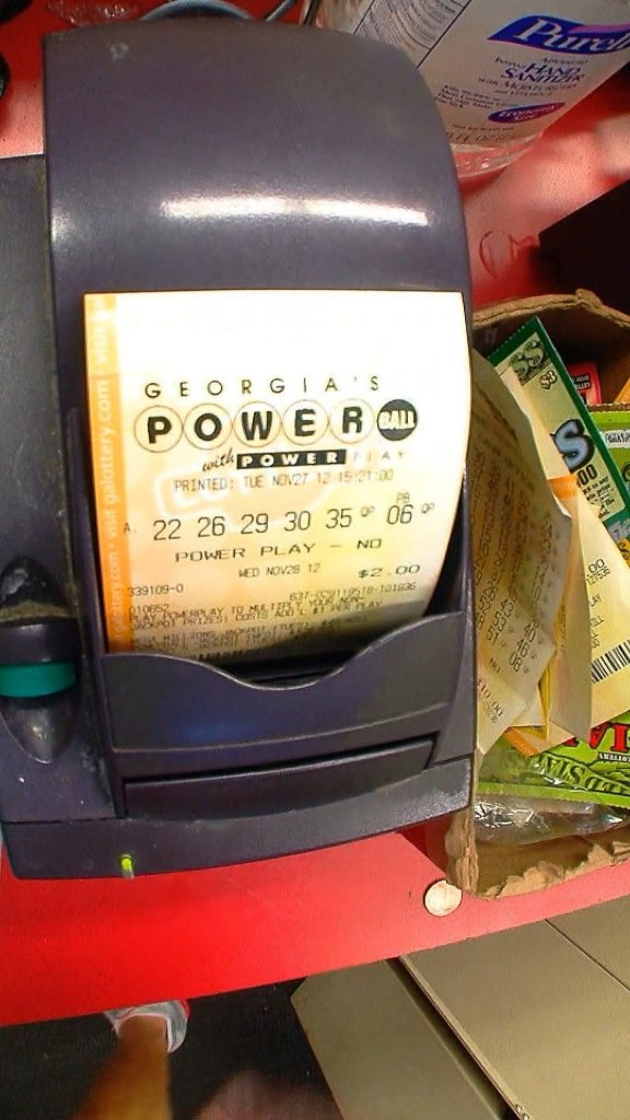 A Powerball ticket is sold in Atlanta, Georgia ahead of the Wednesday, November 28, 2012 drawing for a record lottery jackpot.