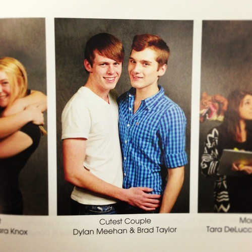 Dylan Meehan and Brad Taylor were voted cutest couple by their classmates at Carmel High School in New York. (Photo: Carmel High School)