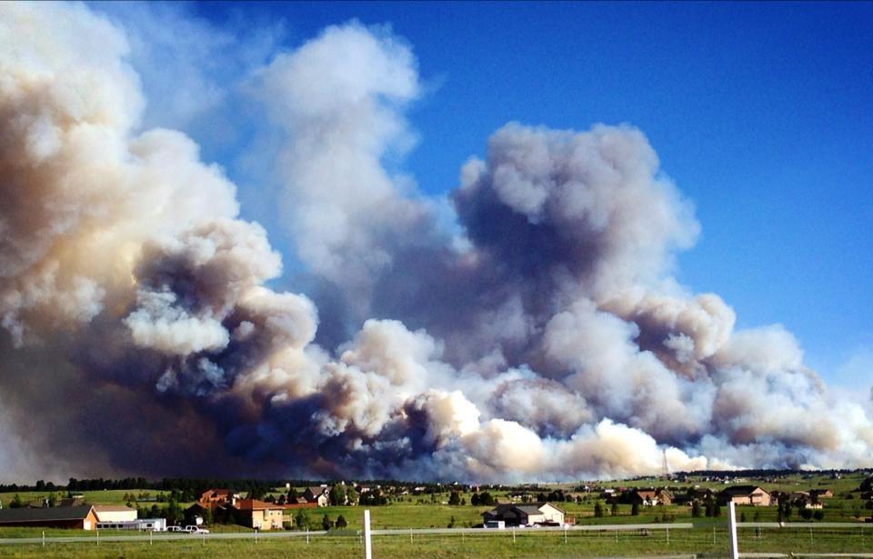 Panoramic fire photo