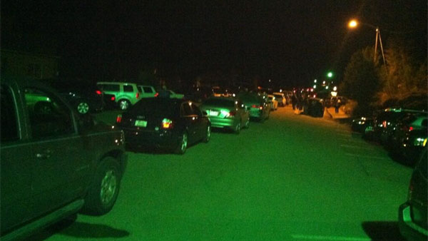 Traffic stacks up on Highway 34 near Grand Lake after an auto vs. pedestrian accident that left one dead following a fireworks show on July 4, 2013. (Photo: Twitter / Kyle Smith)