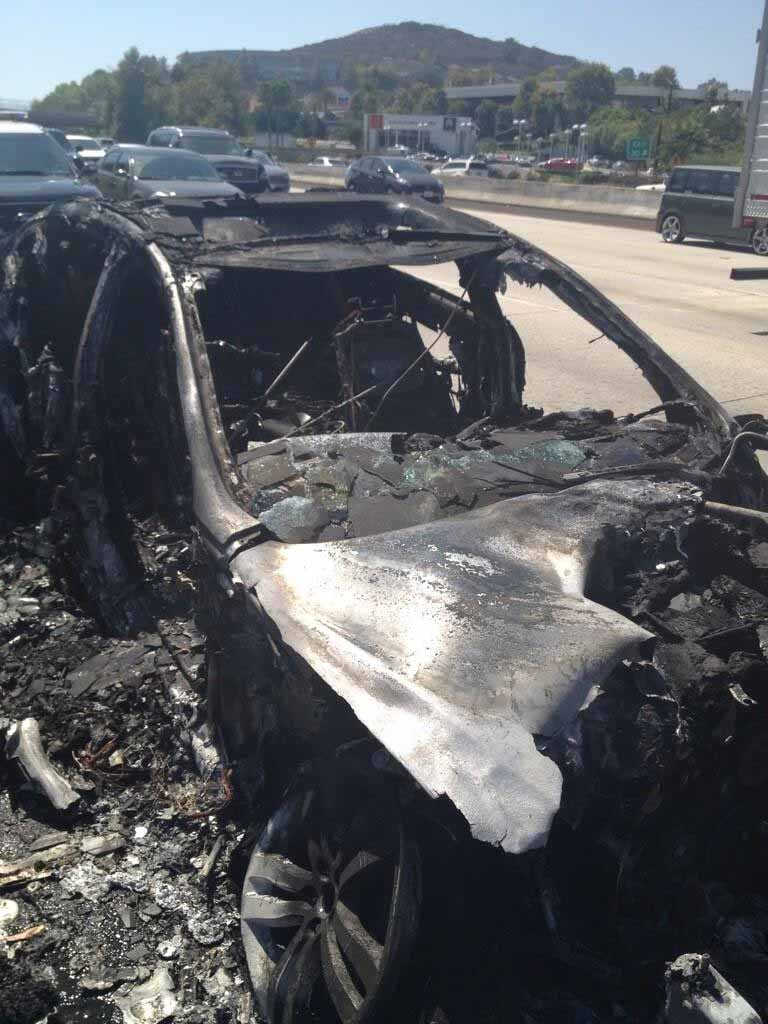 "Dick Van Dyke tweeted this photo of his burned Jaguar on Aug. 19, 2013, saying ""Used Jag for sale REAL CHEAP!!"" (Photo: Twitter / Dick Van Dyke)"