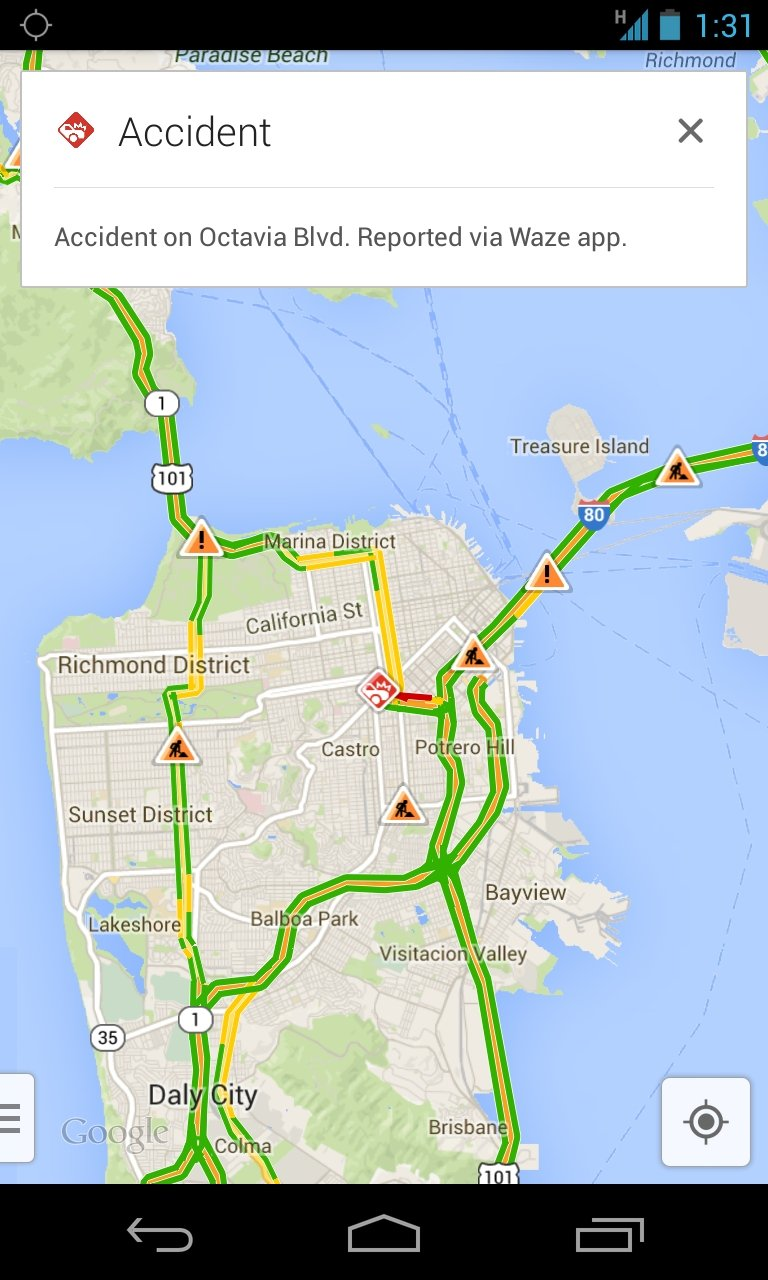 Google is adding real-time info about accidents and traffic jams to its mobile maps. Note the red icon near the Castro district.