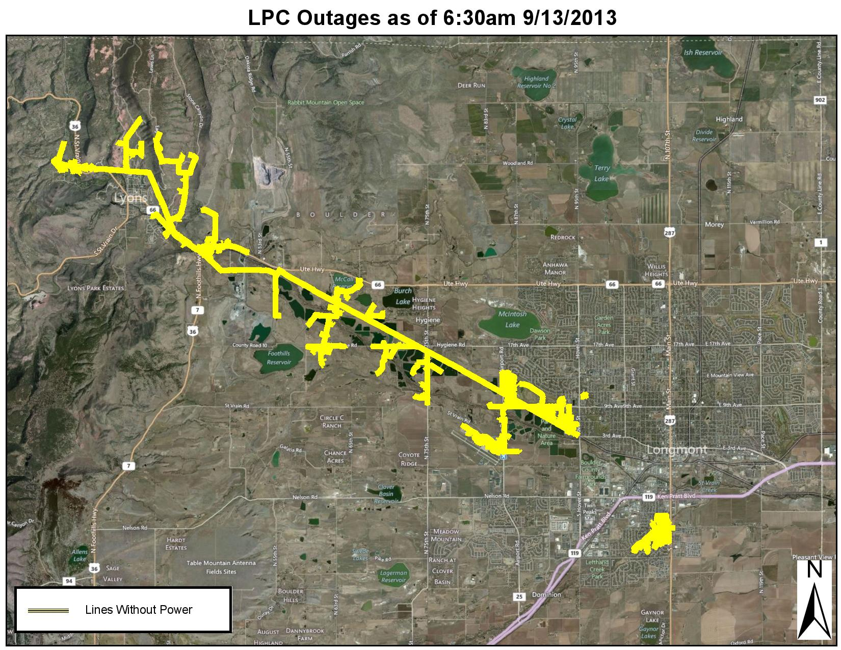 This map highlights the area with power outages as of Friday morning.