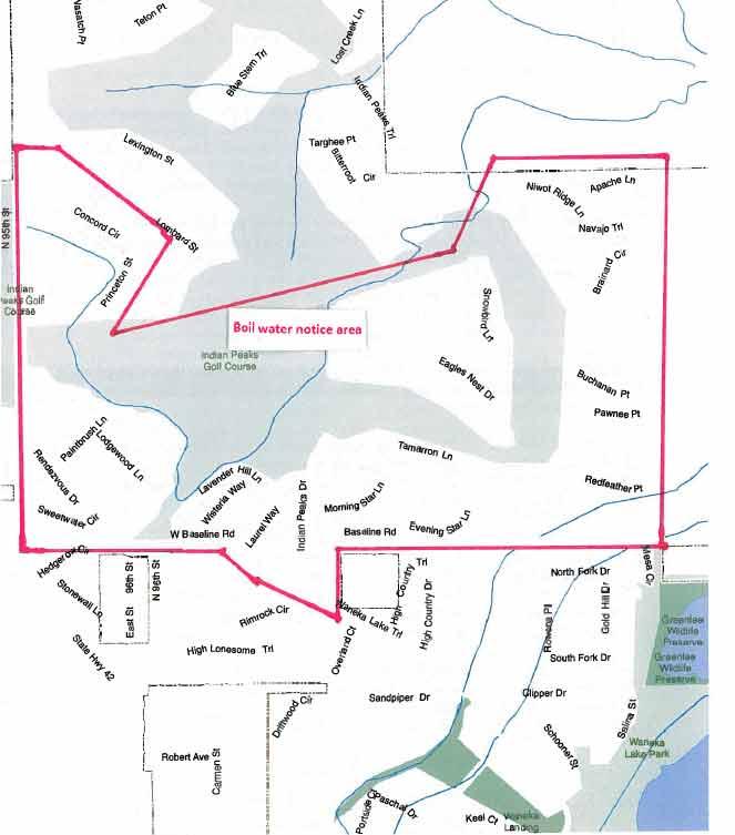 Map of boil water area in Lafayette