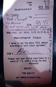 """I'm sorry but I cannot tip because I do not agree with what your lifestyle and how you live your life,"" a family member wrote on the receipt for $93.55 at Gallop Asian Bistro in Bridgewater, New Jersey."
