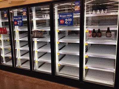 Empty Milk Cooler at Kroger in Acworth, GA as customers prepare for a much anticipated winter storm, February 10, 2014. Courtesy: Leslie Tripp Holland/CNN