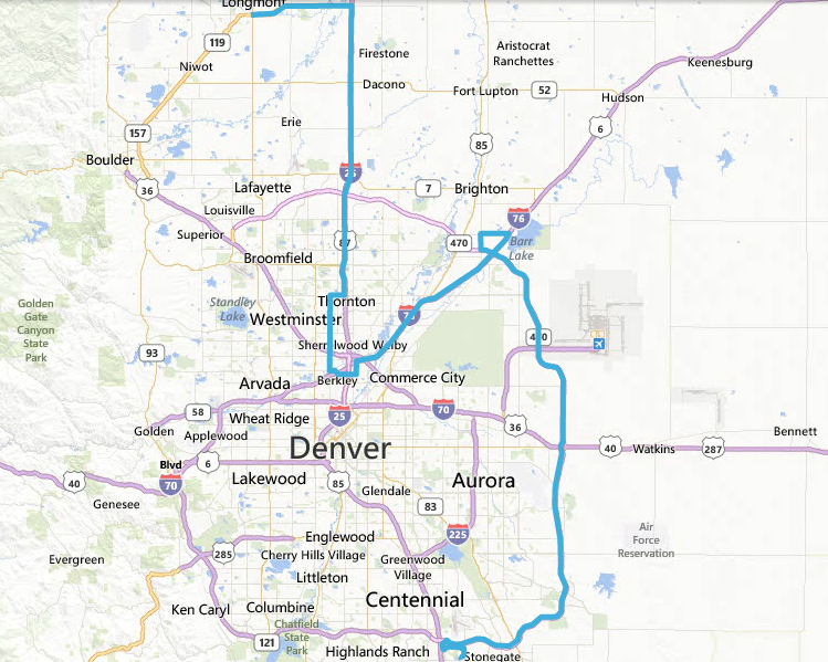 This map, submitted by FOX31 Denver viewer shows a rough outline of the route of the car chase on the morning of March 12, 2014. (Credit: John West)