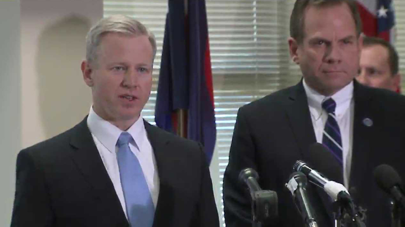 Douglas County District Attorney Charles Branson, left, and Boulder County District Attorney Stan Garrett address the media on March 13, 2014.