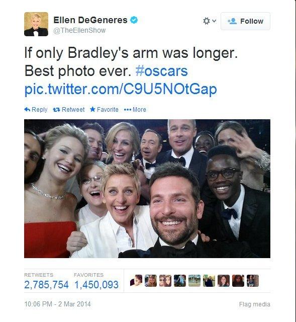 Ellen's Oscars selfie switcheroo