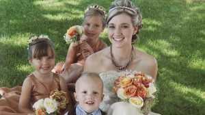 Ashley Fallis with her three children.