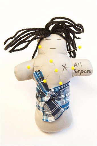 An example of an all-purpose voodoo doll used in an Ohio State University study seeking to study glucose levels and their potential relation to spousal anger. (Credit: Ohio State University)