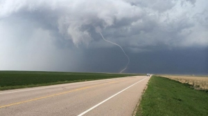 A rope tornado was spotted near the town of Akron. (Photo: Scott Longmore)