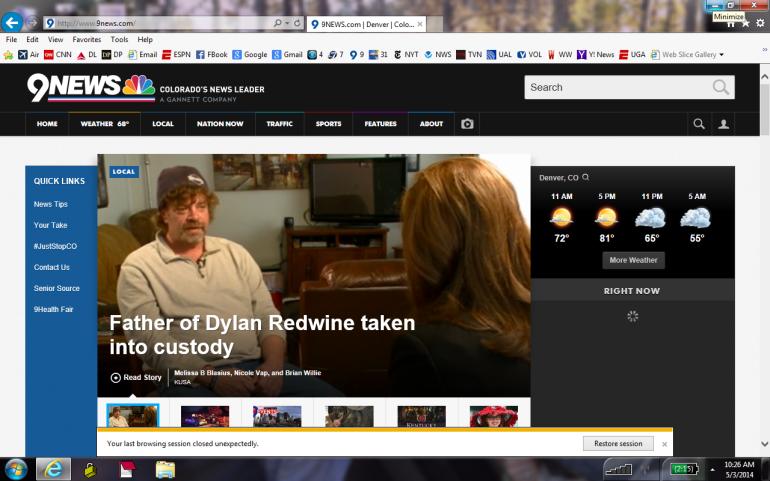 Screenshot of KUSA-TV's original headline