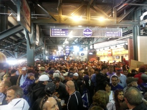 Fans at the Colorado Rockies game were told to head to shelter inside the stadium. (Photo: Jennifer Torrez)