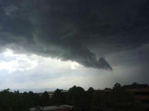 A wall cloud that caused a Tornado Warning in Arapahoe County.