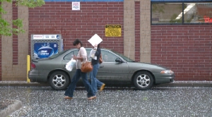 Quarter-size hail fell on parts of downtown Denver Thursday afternoon.