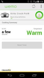 Screenshot of WeMo app controlling Crock-Pot